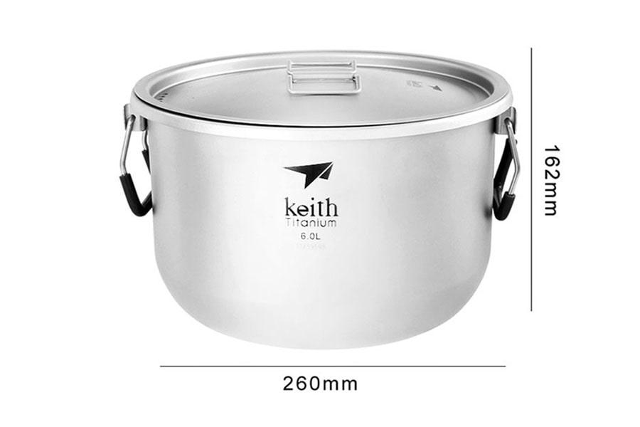 Титановый котелок Keith на 6 литров