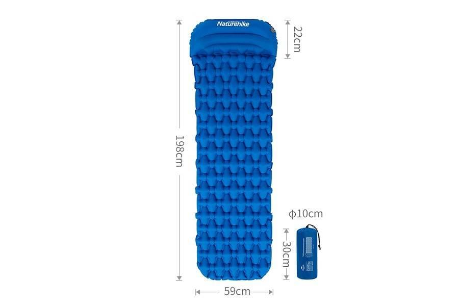 Туристический матрас с подушкой NatureHike, цвет синий