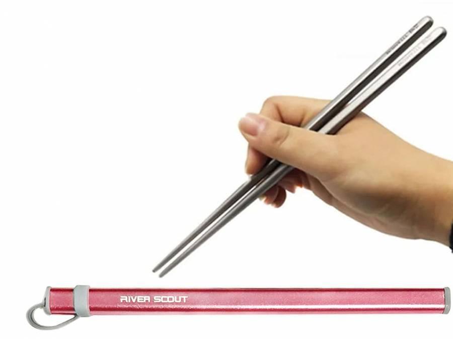 Титановые палочки для суши River Scout 19 см в футляре розового цвета