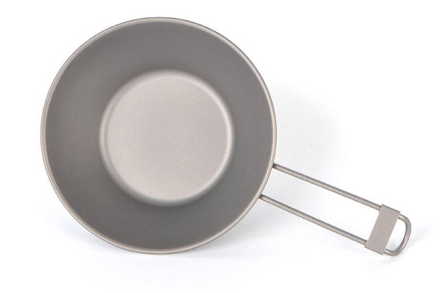 Титановая тарелка-ковш со складной ручкой 300 мл