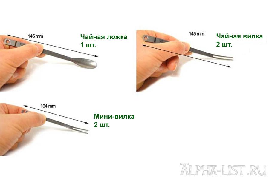"""Походный набор титановых приборов """"AMG Titanium-5"""