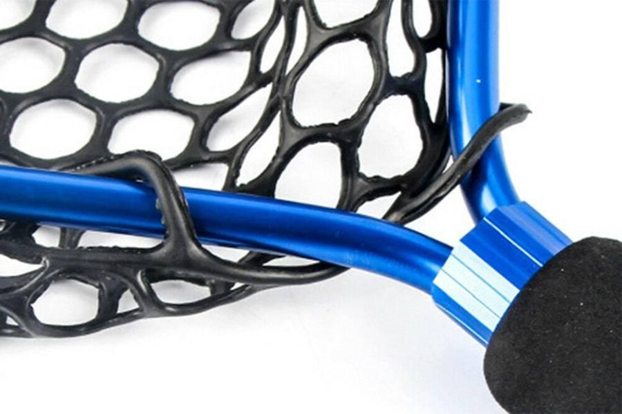 Подсак забродный (подсачек) из алюминия с силиконовой сеткой, обод синего цвета