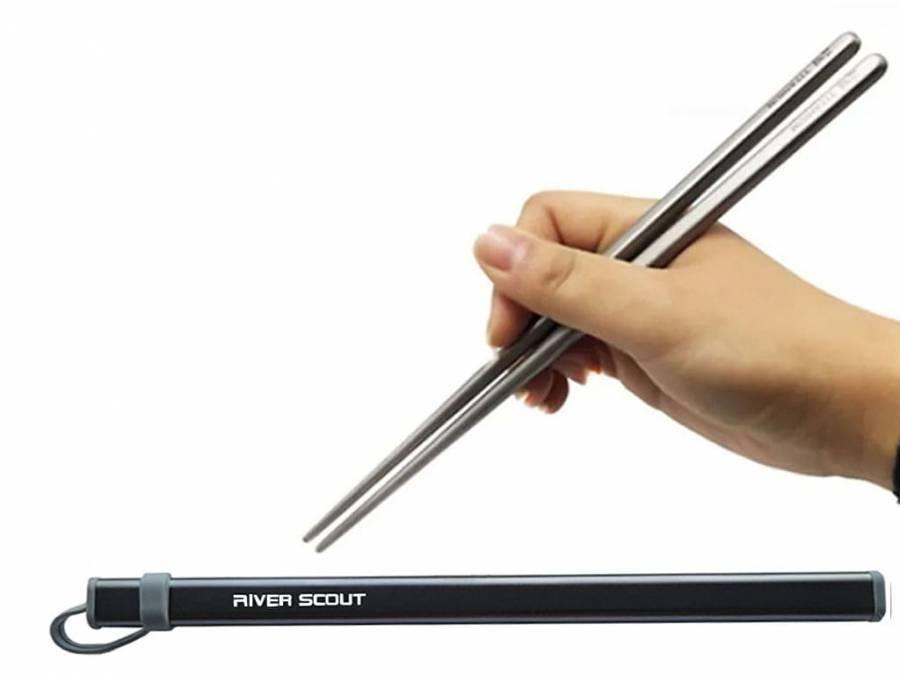 Титановые палочки для суши River Scout 19 см в футляре серого цвета