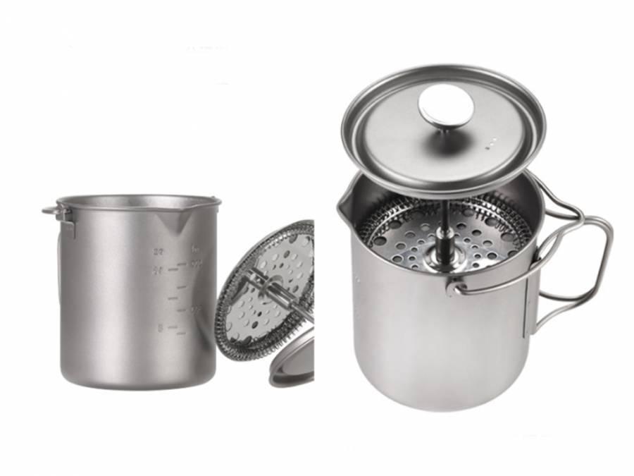 Туристический титановый универсальный чайный (кофейный) котелок с фильтром River Scout 750 мл