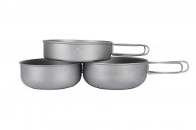 Набор титановой посуды из 3-х предметов (сковорода и кастрюли)
