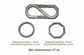 Карабин титановый с двумя  кольцами (Octagon и Round Ring)