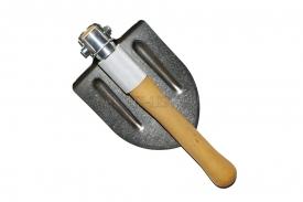 титановая автомобильная складная лопата с алюминиевой втулкой и деревянной рукоятью