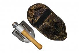 Титановая лопата десантная складная с алюминиевой втулкой и деревянной рукоятью в чехле