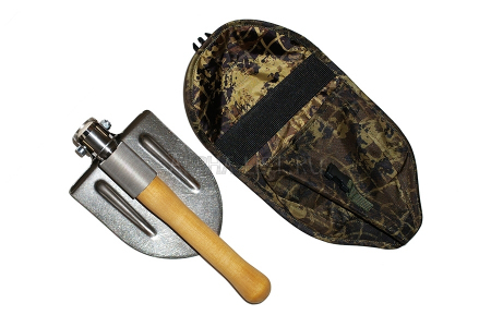Titanium special forces folding spade with wooden haft (in case)